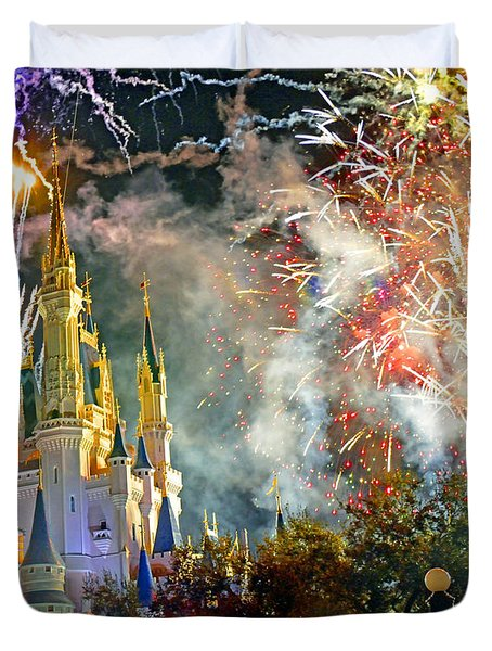 Fireworks Cinderellas Castle Walt Disney World Duvet Cover