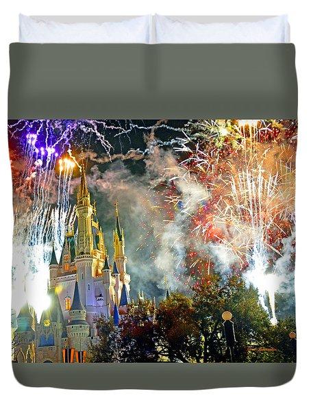 Fireworks Cinderellas Castle Walt Disney World Duvet Cover