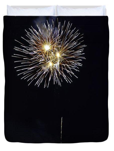 Fireworks Shell Burst Over The St Petersburg Pier Duvet Cover by Jay Droggitis