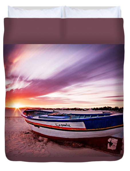 Duvet Cover featuring the photograph Fishing Boat At Sunset / Tunisia by Barry O Carroll