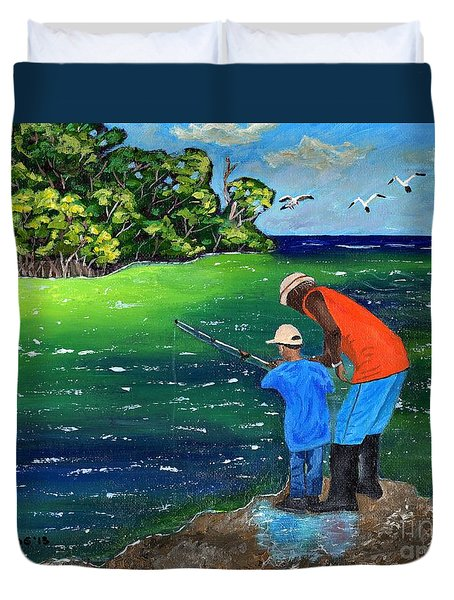Fishing Buddies Duvet Cover by Laura Forde
