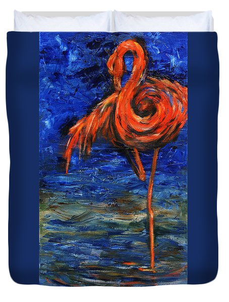 Duvet Cover featuring the painting Flamingo by Xueling Zou