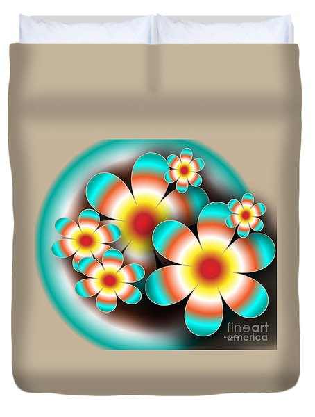 Duvet Cover featuring the digital art Floral Target by Iris Gelbart
