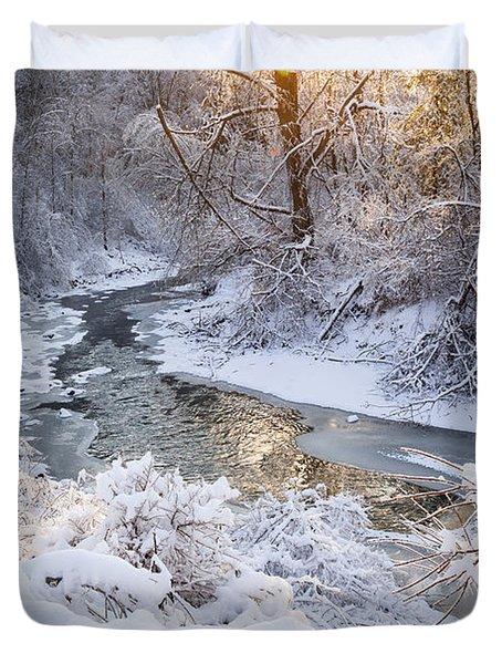 Forest Creek After Winter Storm Duvet Cover