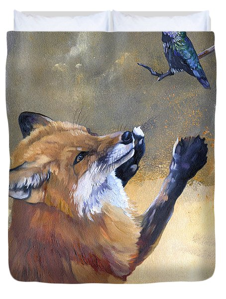 Fox Dances For Hummingbird Duvet Cover