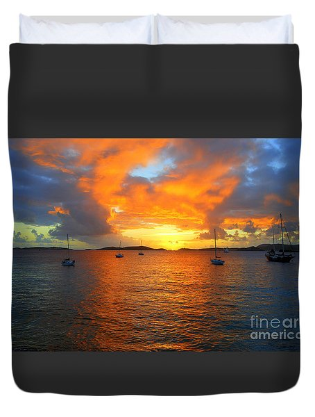 Frank Bay St. John U. S. Virgin Islands Sunset Duvet Cover by Catherine Sherman