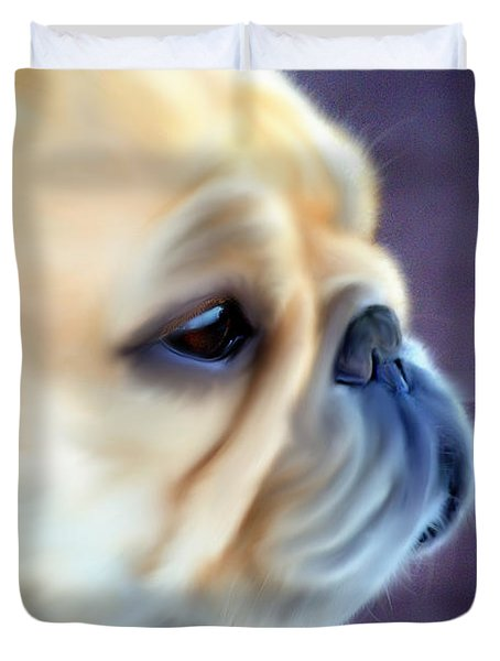 French Bulldog Head Study Duvet Cover by Barbara Chichester