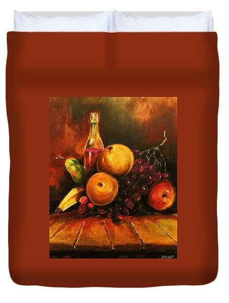Fruit And Wine Duvet Cover by Al Brown