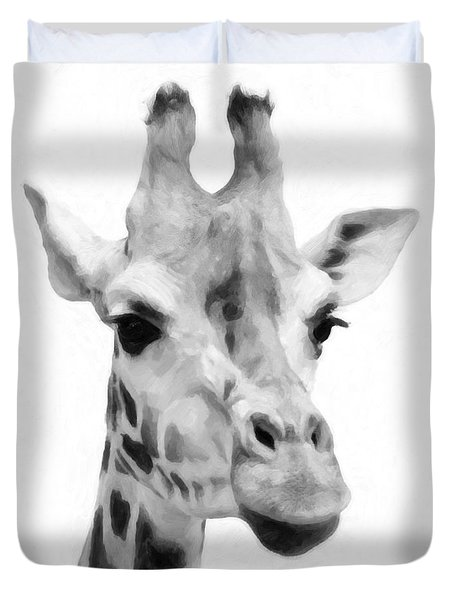 Giraffe On White Background  Duvet Cover