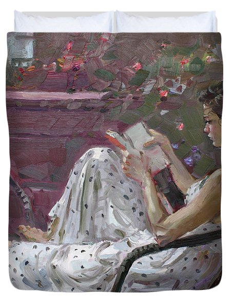 Girl Reading Duvet Cover by Ylli Haruni