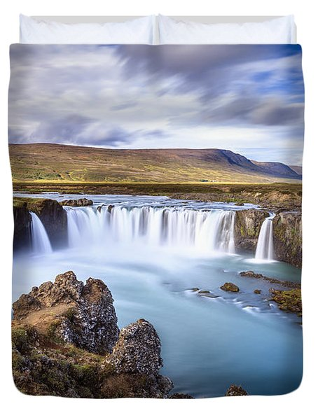 Godafoss Waterfall Duvet Cover