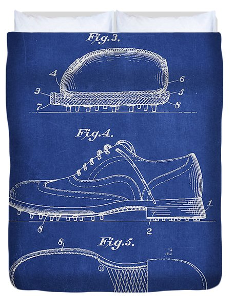 Golf Shoe Patent Drawing From 1931 Duvet Cover by Aged Pixel