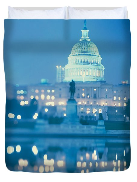 Government Building Lit Up At Night Duvet Cover by Panoramic Images