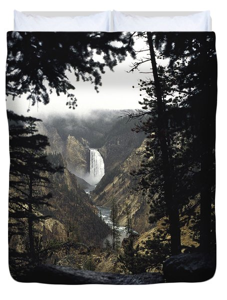 Grand Canyon Of The Yellowstone-signed Duvet Cover by J L Woody Wooden