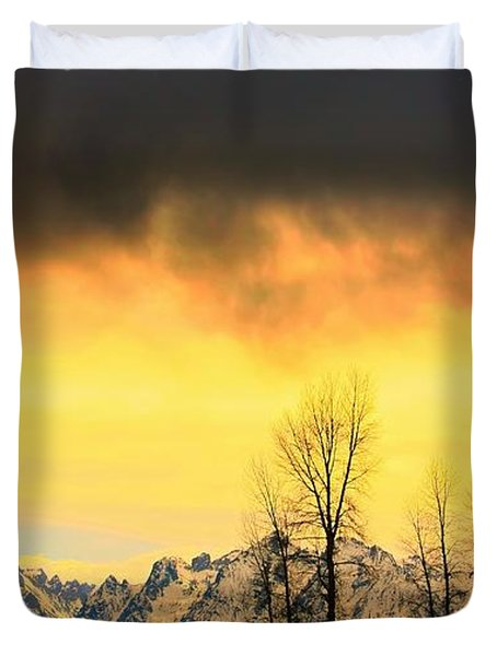 Duvet Cover featuring the photograph Grand Tetons Wyoming by Amanda Stadther