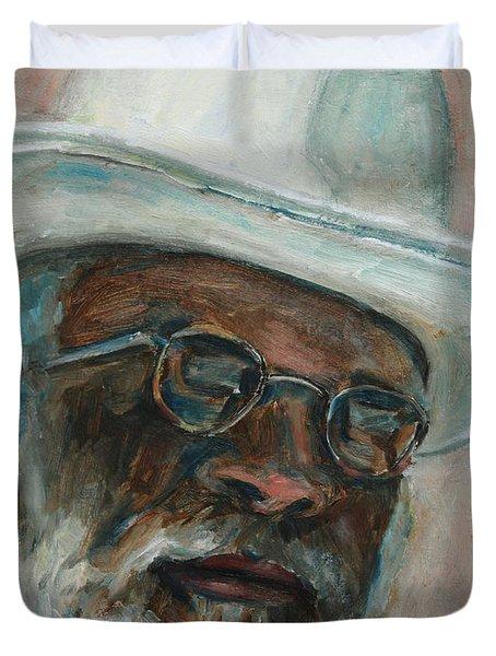 Gray Beard Under White Hat Duvet Cover