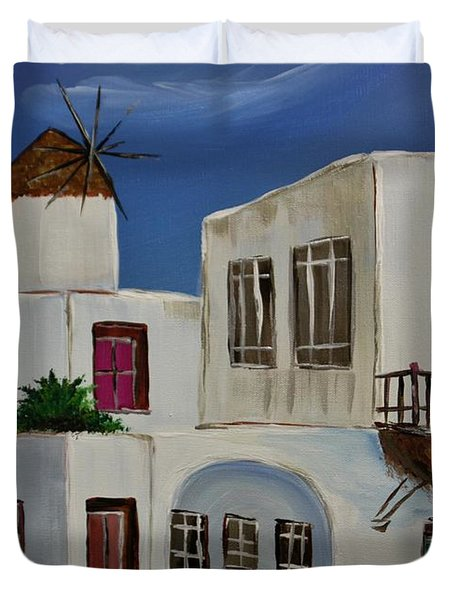 Duvet Cover featuring the painting Greek Village by Janice Rae Pariza