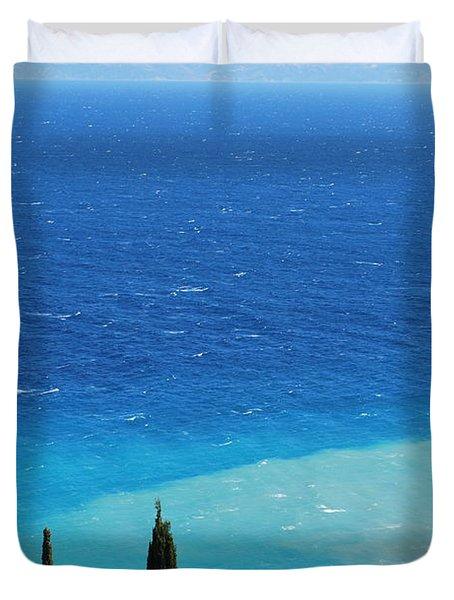 green and blue Erikousa Duvet Cover