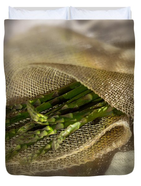 Green Asparagus On Burlab Duvet Cover by Iris Richardson
