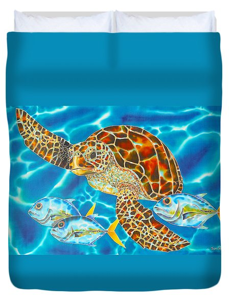 Green Sea Turtle Duvet Cover by Daniel Jean-Baptiste