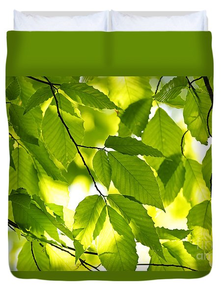Green Spring Leaves Duvet Cover