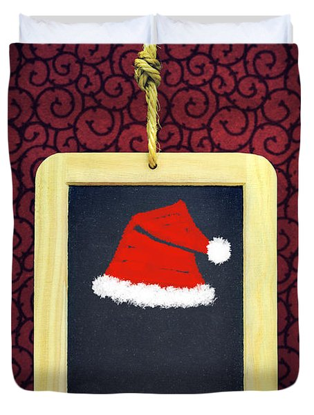 Hanged Xmas Slate - Santa's Cap Duvet Cover