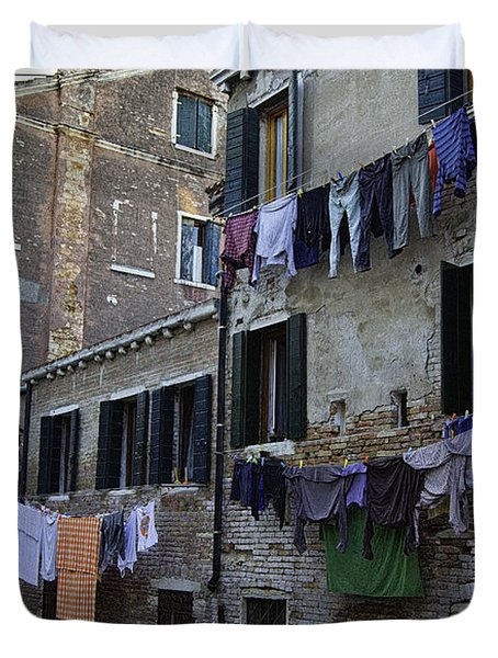 Hanging Out To Dry In Venice Duvet Cover
