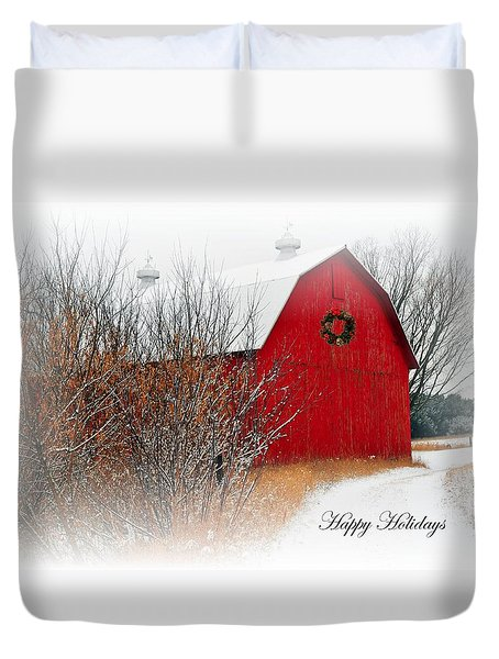 Happy Holidays Duvet Cover by Terri Gostola