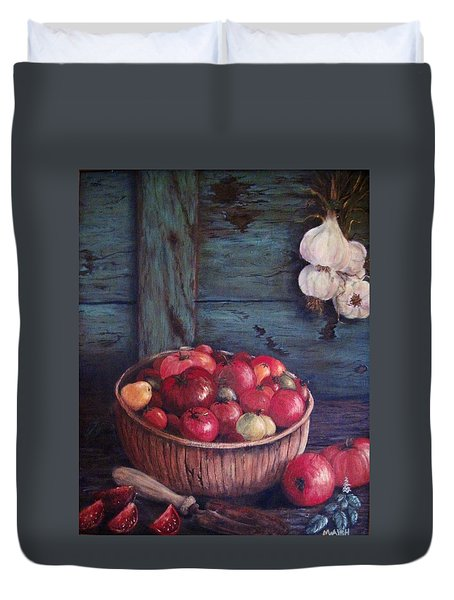 Duvet Cover featuring the painting Harvest Time by Megan Walsh
