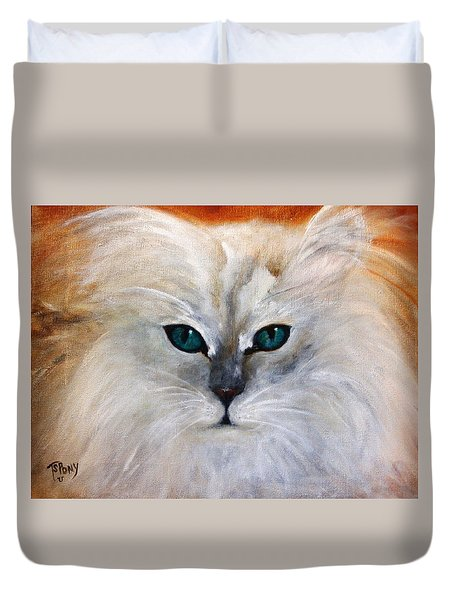 Duvet Cover featuring the painting Hemingway by Barbie Batson