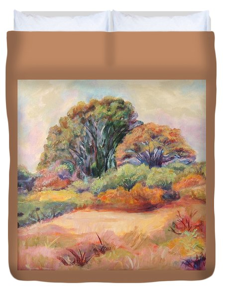 Duvet Cover featuring the painting Henry's Backyard by Patricia Piffath