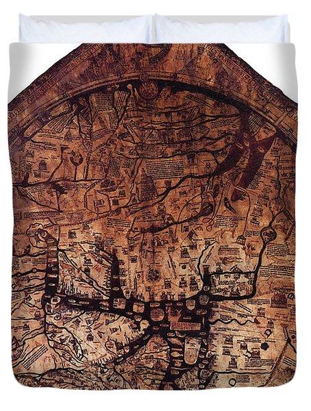 Hereford Mappa Mundi 1300 Duvet Cover