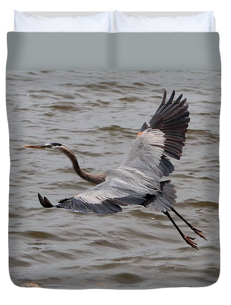 Heron In Flight. Duvet Cover