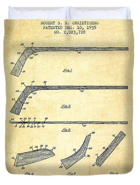 Hockey Stick Patent Drawing From 1935 Duvet Cover by Aged Pixel