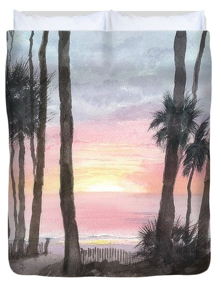 Hunting Island Sunrise Duvet Cover