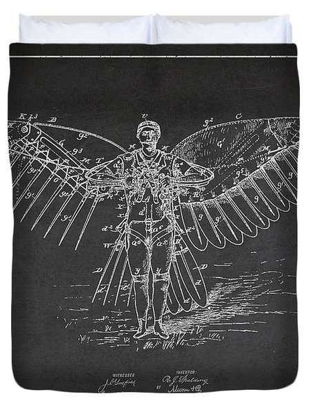 Icarus Flying Machine Patent Drawing Front View Duvet Cover by Aged Pixel