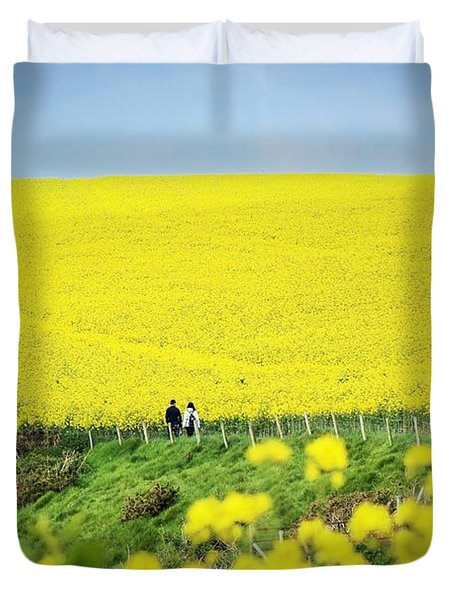 Rapeseed Field... Love Story Duvet Cover
