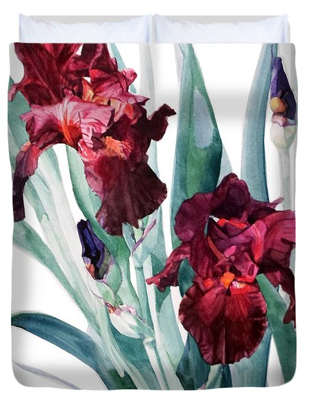 Dark Red Tall Bearded Iris Donatello Duvet Cover
