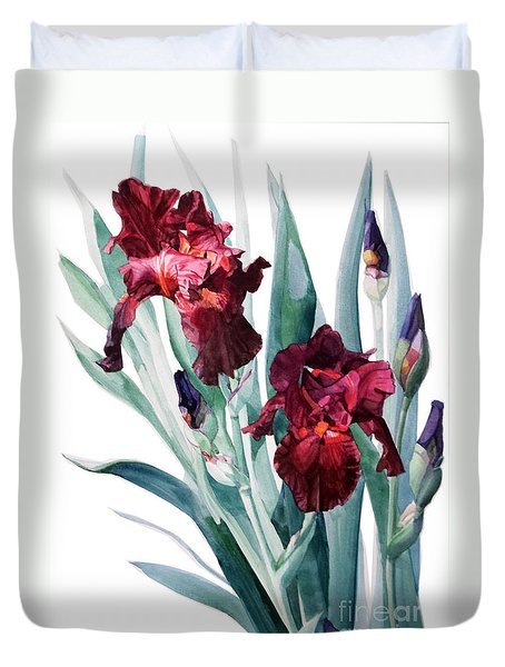Dark Red Tall Bearded Iris Donatello Duvet Cover