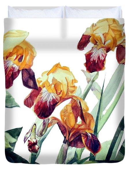 Watercolor Of Tall Bearded Irises I Call Iris La Vergine Degli Angeli Verdi Duvet Cover