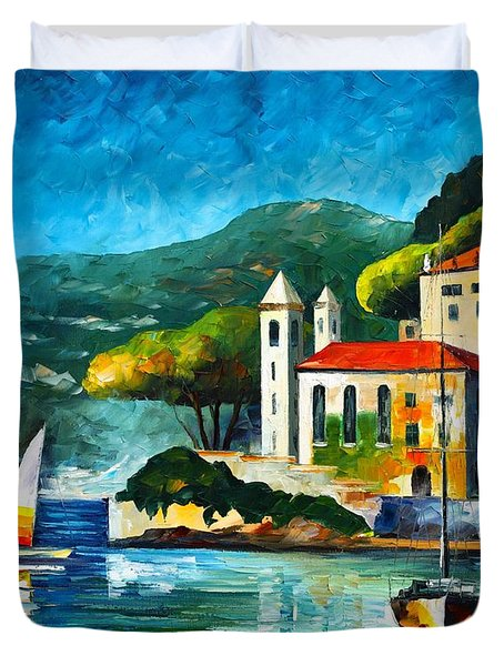 Italy Lake Como Villa Balbianello Duvet Cover by Leonid Afremov