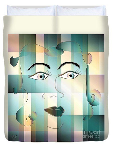Duvet Cover featuring the digital art Jeana by Iris Gelbart