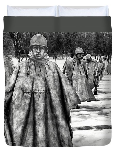 Korean War Memorial Washington Dc Duvet Cover by Bob and Nadine Johnston