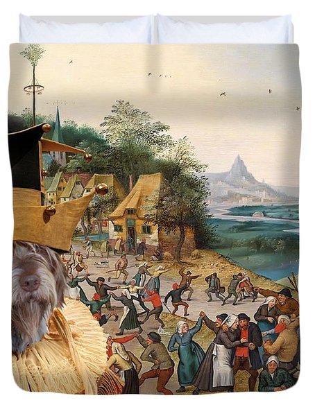 Korthals Pointing Griffon Art Canvas Print Duvet Cover by Sandra Sij