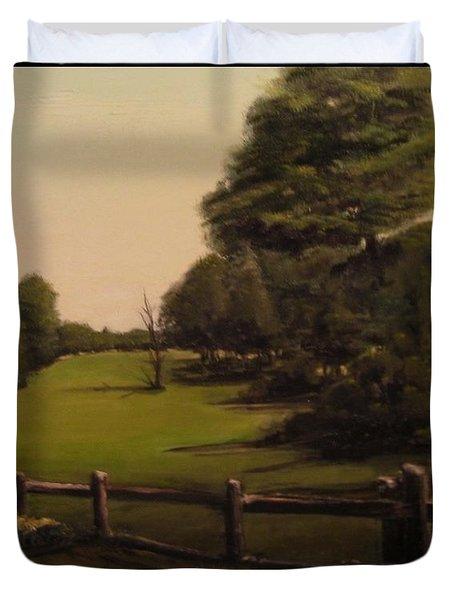 Landscape Of Duxbury Golf Course - Image Of Original Oil Painting Duvet Cover