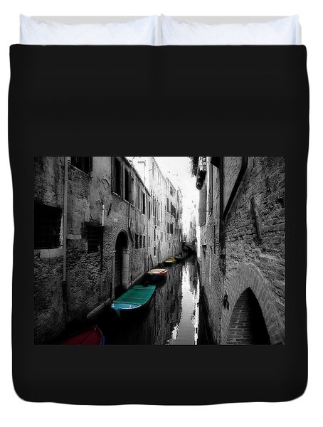 Duvet Cover featuring the photograph L'aqua Magica by Micki Findlay