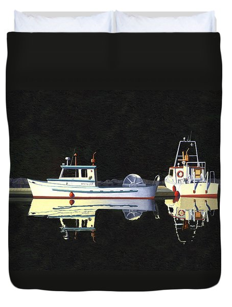 Duvet Cover featuring the painting Last Light  Island Moorage by Gary Giacomelli