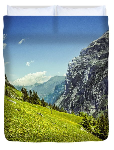 Lauterbrunnen Valley In Bloom Duvet Cover by Jeff Goulden