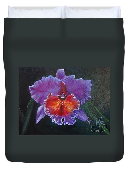 Duvet Cover featuring the painting Lavender Orchid by Jenny Lee