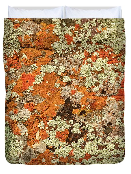 Duvet Cover featuring the photograph Lichen Abstract by Mae Wertz
